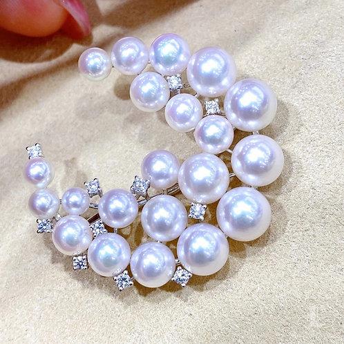 AAAA 4-7.5 mm Akoya Pearl Pendant Brooch 18k Gold w/ Diamond