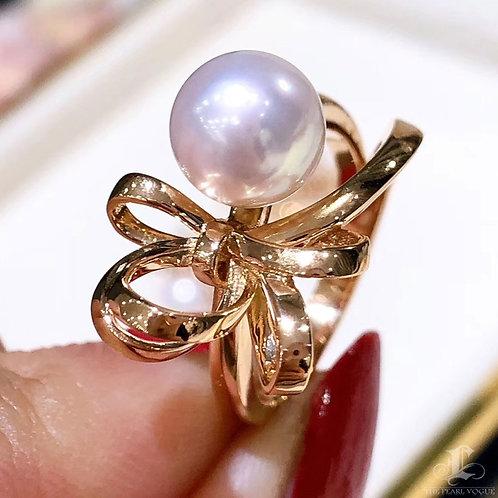 AAAA 8-8.5 mm Akoya Pearl Bow Ring, 18k Gold