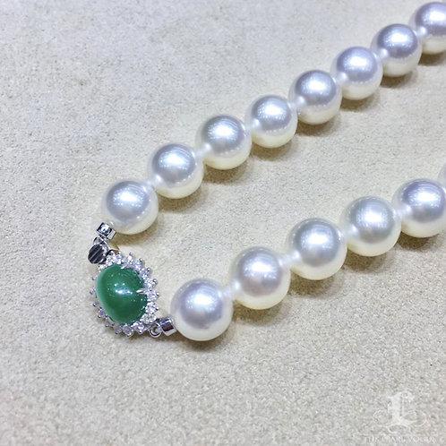 46cm 2.5ct Emerald Clasp 9.4-12mm Pinctada Maxima|白蝶 Pearl Necklace w/ Japan Cer