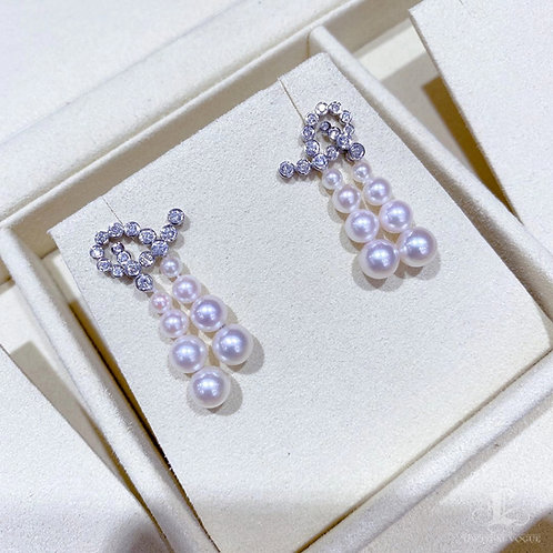 0.62 ct Diamond AAAA 3-6.5 mm Akoya Pearl Earrings 18k Gold