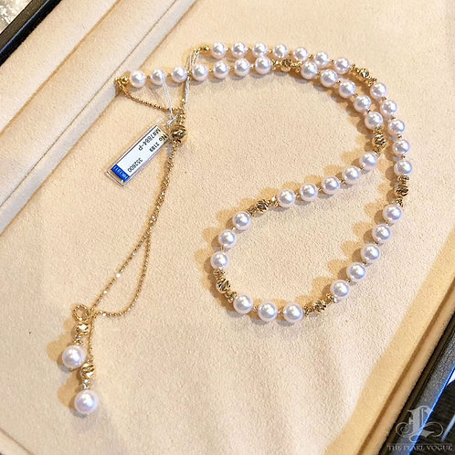 70 cm AAAA 7-7.5 mm Akoya Pearl Novel Strand 18k Gold