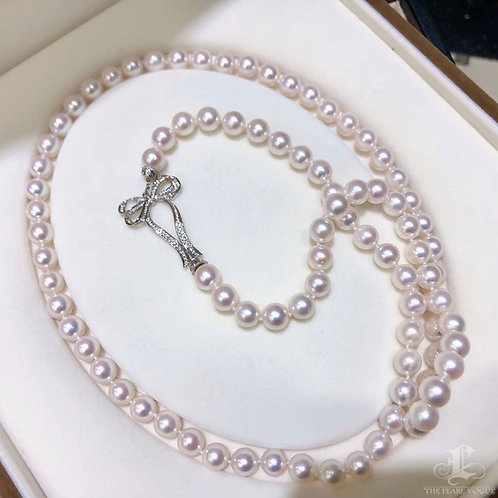 85cm, AAAA 8-8.5 mm Akoya Pearl Sweater Strand 18K Gold Diamond
