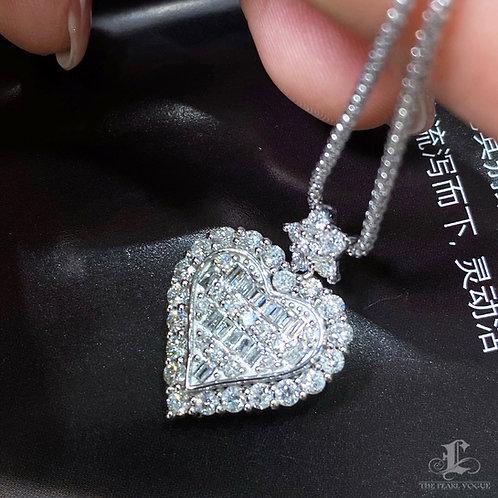 2.0 ct FG/Vs Micro-Pave Natural Diamond Heart Pendant 18k Gold