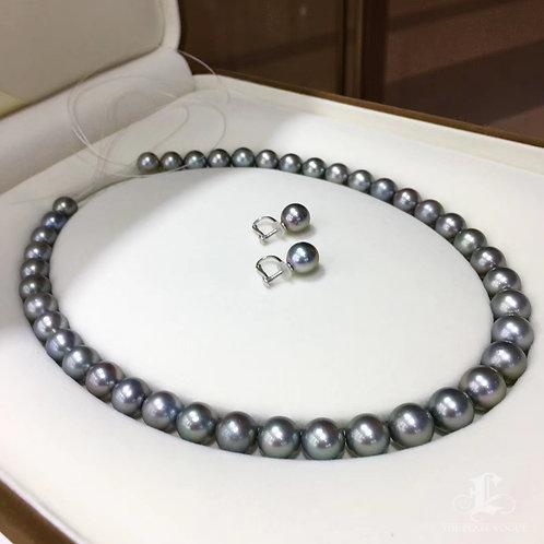 45cm 9-11 mm Black Queen Tahitian Pearl Necklace Earrings Set w/ Japan Certft