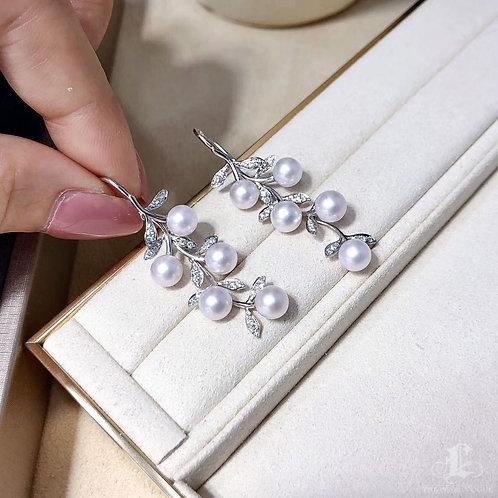 0.45 ct Diamond AAAA 5-6 mm Akoya Pearl Earrings 18k Gold