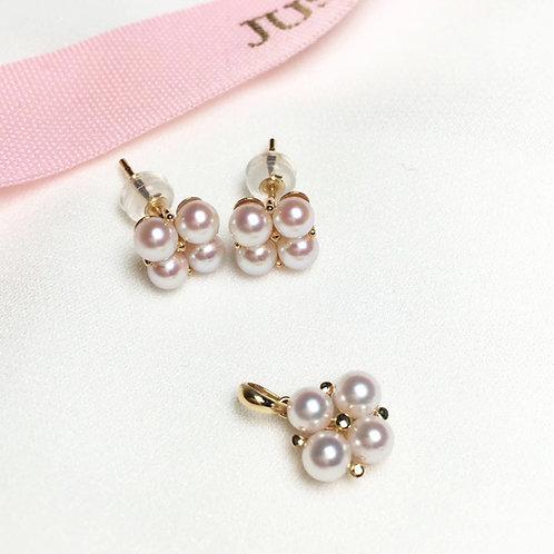 AAAA 3.5-4 mm Baby Akoya Pearl Fashion Earrings & Pendant Set, 18k Gold