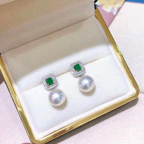 0.65ct Emerald, AAAA 9.5-10 mm Akoya Pearl Earrings 18k Gold w/ Diamond