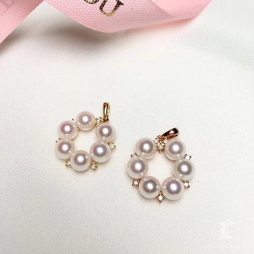AAAA 5.5-6 mm Akoya Pearl Fashion Pendant, 18k Gold Diamond