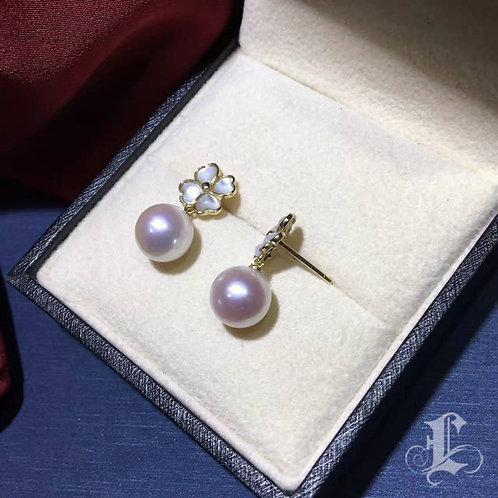 AAAA 8-8.5mm Akoya Pearl Stud Earrings, 18k Gold w/ Nacre