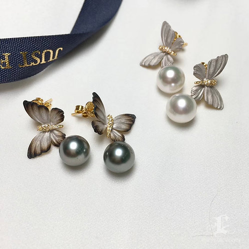 AAAA 10-11mm South Sea or Tahitian Pearl Earrings, 18k Gold w/ Diamond