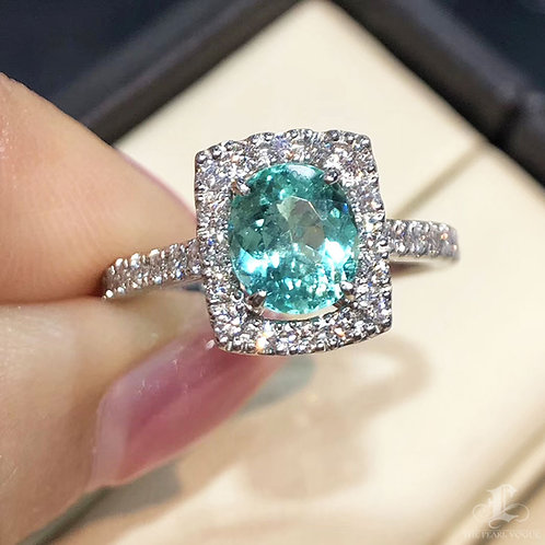 1.21 ct Natural Paraiba Tourmaline Ring 18k Gold Diamond