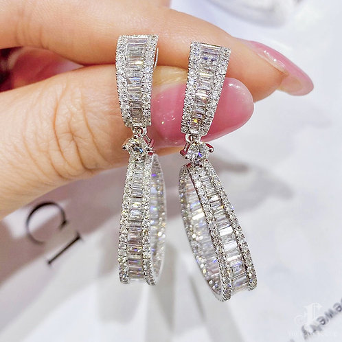 4.00 ct FG/Vs Natural Diamond Micro-Pave Star Earrings 18k Gold