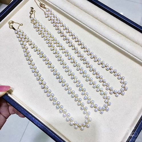 45cm, AAAA 4.5-5 mm Baby Akoya Pearl Multi Strand Necklace