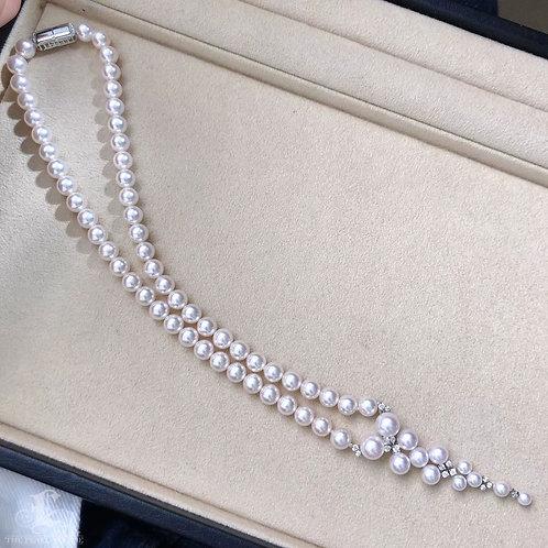 45cm 3-8.5 mm Aurora Hanadama Akoya Pearl Necklace w/ Pearl Diamond Clasp