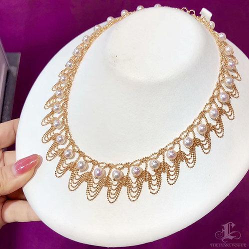 35+5 cm, AAAA 7.5-8 mm Akoya Pearl Collar Necklace 18k Gold