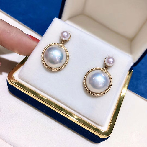 AAAA 13-14 mm Mabe Pearl Earrings 18k Gold
