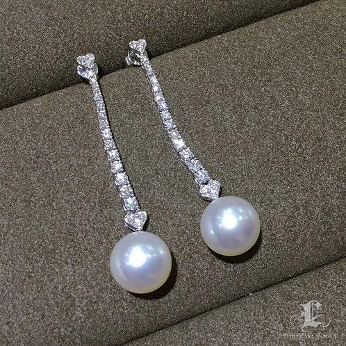 1.35ct Diamond AAAA 11-12mm White South Sea Pearl Earrings 18k Gold