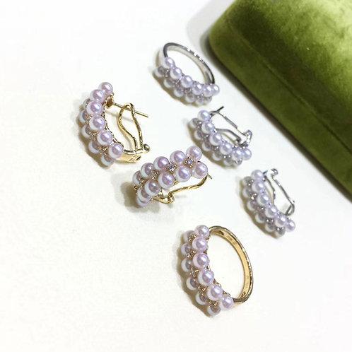 0.15ct Diamond, AAAA 3.5-4mm Akoya Fashion Pearl Ring, 18k Gold w/ Diamond