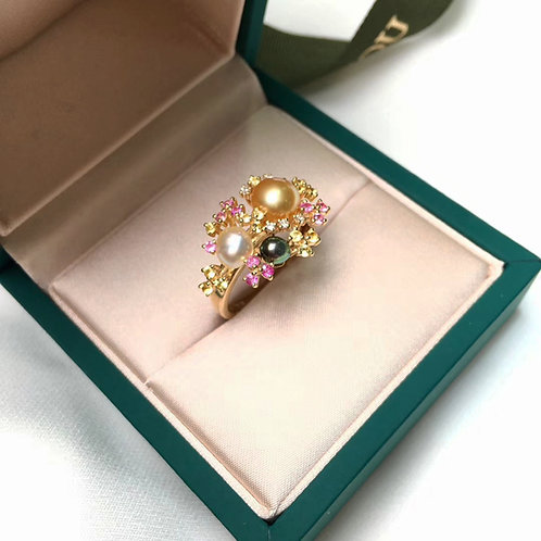 0.68ct Sapphire KESHI 3-7mm Wild South Sea Pearl Ring 18k Gold w/ Diamond