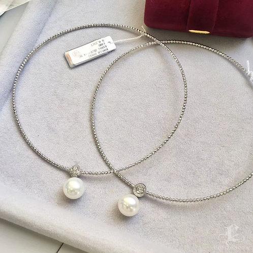 AAAA 14-15 mm South Sea Pearl Collar Pendant 18k Gold w/ Diamond