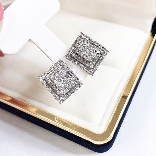 1.00 ct H/SI Micro-Pave Natural Diamond Square Stud Earrings 18k Gold