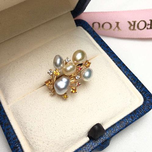 0.21ct Diamond KESHI 4-6 mm Wild South Sea Pearl Ring 18k Gold