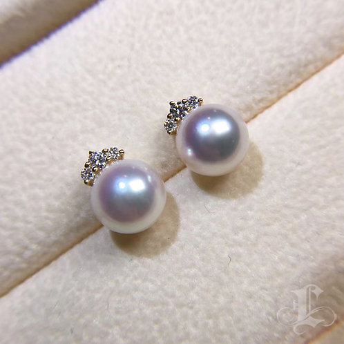 0.20ct Diamond, AAAA 8-8.5mm Akoya Pearl Classic Stud Earrings, 18k Gold