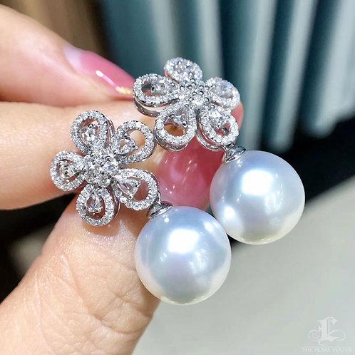 1.23ct Diamond, AAAA 12-13 mm South Sea Pearl Luxury Earrings 18k Gold