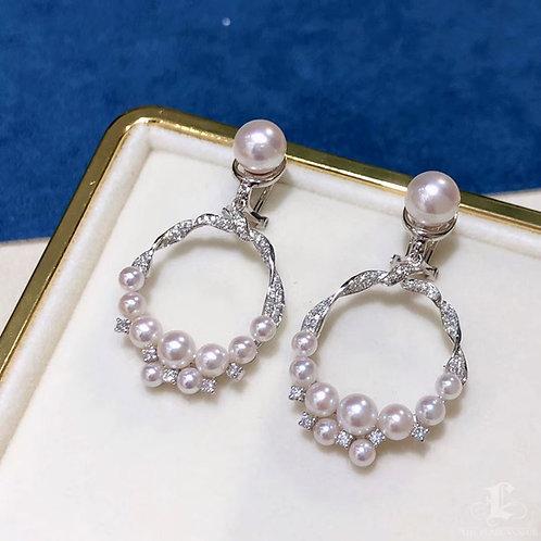 0.61 ct Diamond, 3-7.5 mm Akoya Pearl Luxury Earrings 18k Gold