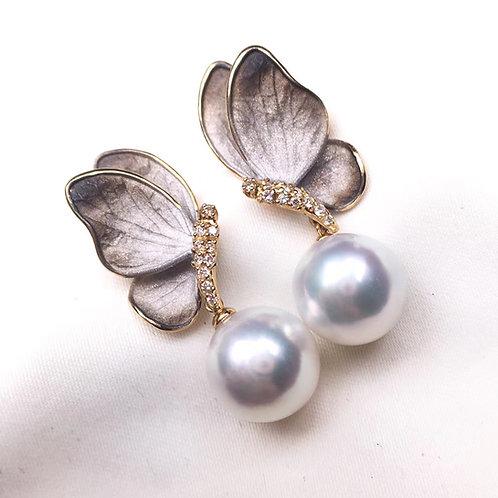 AAAA 10-11mm White South Sea Pearl Earrings, 18k Gold w/ Diamond