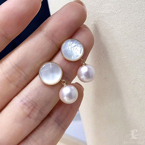 AAAA 8-8.5mm Akoya Pearl Earrings, 18k Gold w/ Pearl Mother
