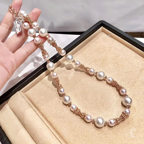 49cm, AAAA 8.5mm Akoya Pearl & 10-12mm South Sea Necklace 18k Rose Gold
