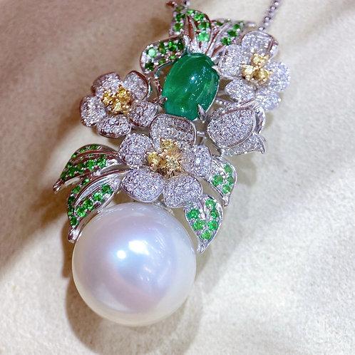 1.62 ct Emerald, AAAA 14-15 mm South Sea Pearl Pendant 18k Gold w/ Diamond