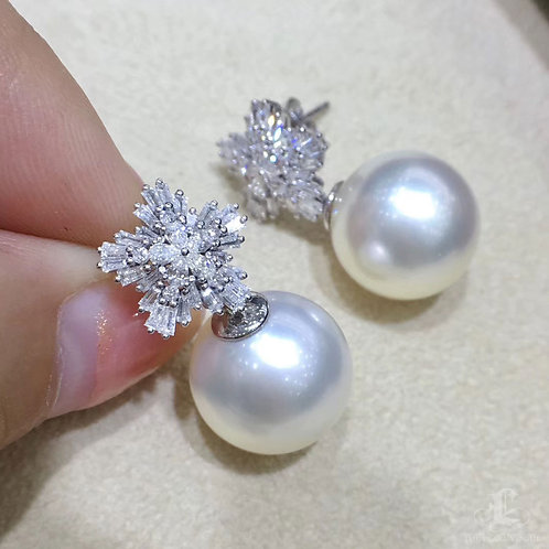 0.73ct Diamond, AAAA 13-14 mm South Sea Pearl Luxury Earrings 18k Gold