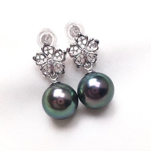 AAAA 9-10mm Tahitian Pearl Earrings, 18k White Gold w/ Diamond