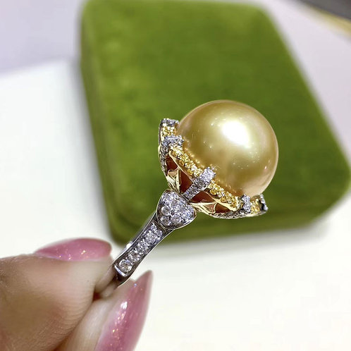 0.66ct Diamond AAAA 13-14 mm Golden Pearl Royal Ring 18k Gold