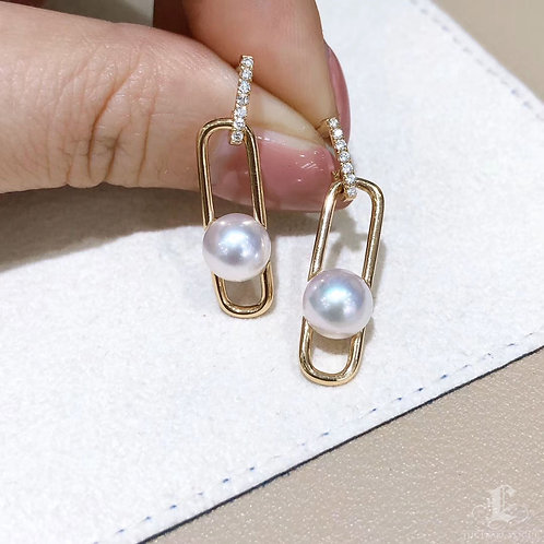 Famous Style! AAAA 7-7.5 mm Akoya Pearl Earrings 18k Gold Diamond