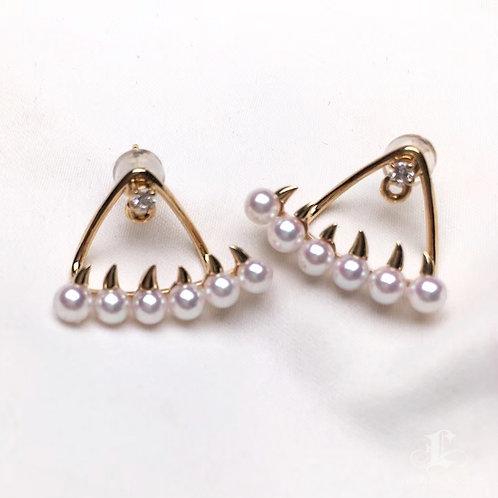 AAAA 3.5-4mm Baby Akoya Pearl Claw Earrings Jacket, 18k Gold w/ Diamond