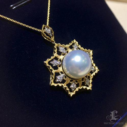 0.18ct Diamond AAAA 14-15mm White South Sea Pearl Hexagon Pendant, 18k Gold