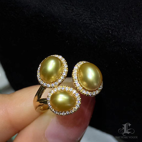 0.30ct Diamond KESHI 5-6mm Wild Golden South Sea Pearl Ring 18k Gold