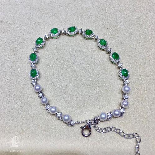 2.1ct Vivid Green Emerald, AAAA 3-4mm Baby Akoya Pearl Bracelet 18k Gold Diamond