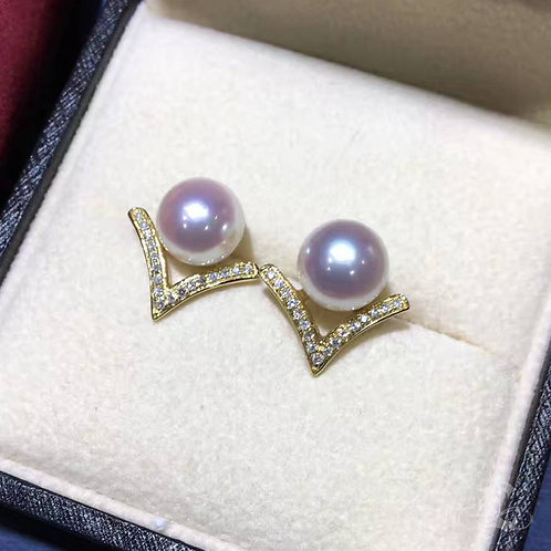 0.20ct Diamond, AAAA 8-8.5mm Akoya Pearl Classic Stud Earring, 18k Gold