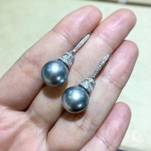 0.62ct Diamond AAAA 11-12 mm Tahitian Pearl Earrings, 18k White Gold