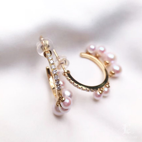 0.25ct Diamond, AAAA 3.5-4 mm Baby Akoya Pearl Fashion Earrings, 18k Gold
