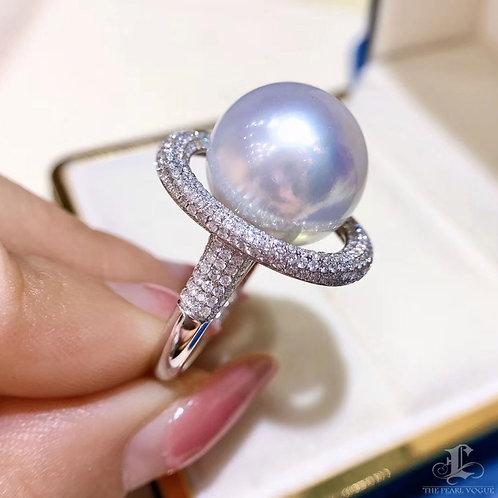 1.20ct Diamond, AAAA 14-15 mm South Sea Pearl Luxury Ring 18k Gold