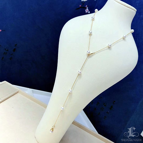 59 cm Long Chain, AAA 6.5-7.5 mm Akoya Pearl Tin Cup Necklace 18k Gold