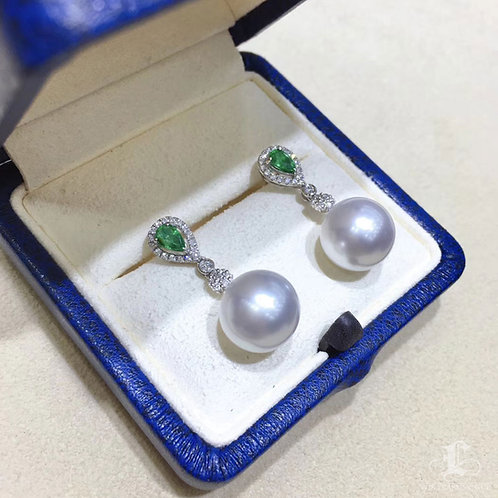 0.60ct Emerald, AAAA 11-12 mm South Sea Pearl Earrings 18k Gold w/ Diamond