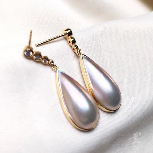 10.3 x 20.7mm Drop Mabe Pearl Earrings, 18k Gold w/ Diamond - AAA