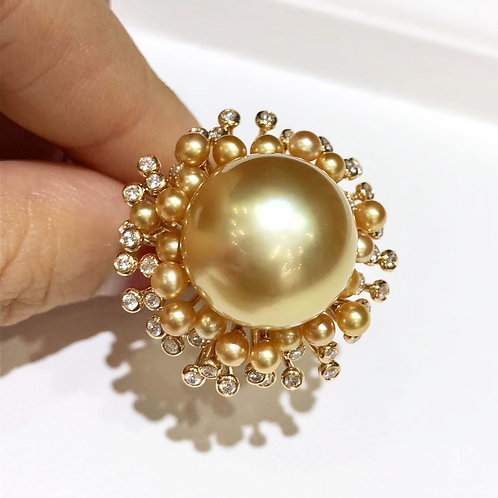 0.66 ct Diamond AAAA 15-16 mm Golden South Sea Pearl Royal Ring, 18k Gold w/ J.C