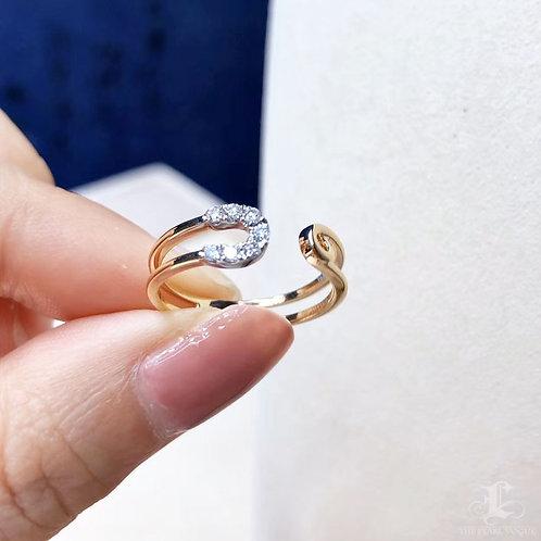 0.12 ct FG/SI Natural Diamond Micro-Pave Ring 18K Gold